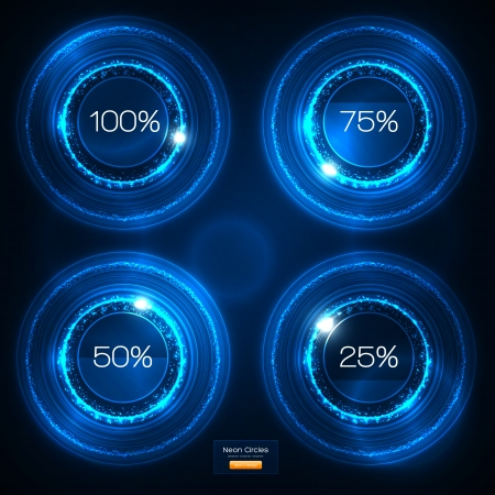 music machine: Infographic Blue Neon Vector Design