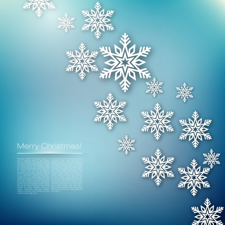 Merry Christmas Vector Illustration   Snowflakes Design Ilustrace