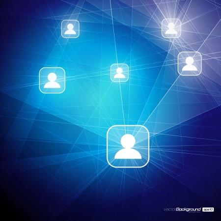 interaccion social: Social Media Communication Ilustraci�n abstracta en las redes mundiales inform�ticas de dise�o vectorial EPS10