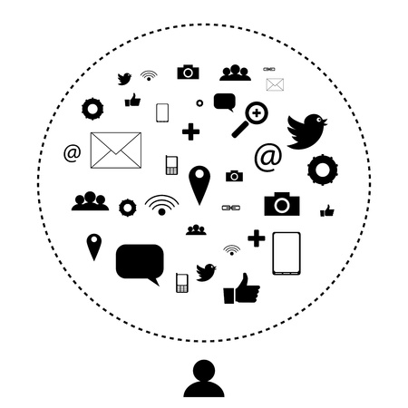 Social network and media icons, pictograms   EPS10 Editable Vector Background Stock Vector - 18098182