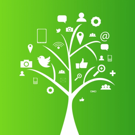 Social network tree with media icons, pictograms   EPS10 Editable Vector Background Vector