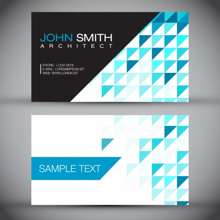 Blue Mosaic Modern Business Card Set   EPS10 Vector Design