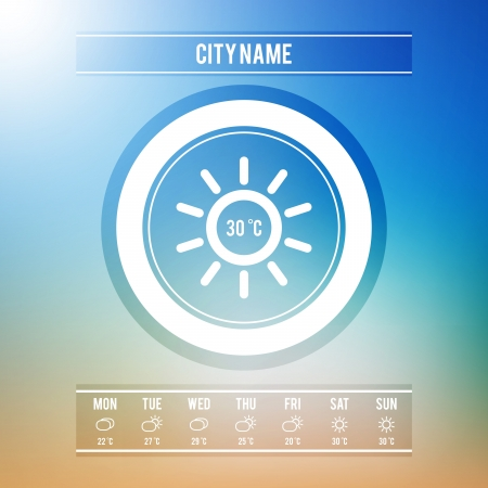 Weather Forecast User Interface or Widget with Minimal Weather Icons Set   Vector