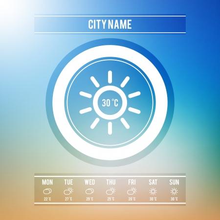 widget: Weather Forecast User Interface or Widget with Minimal Weather Icons Set   Illustration