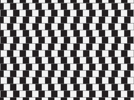 Optical illusion - parallel lines made from black and white pillows    Vector