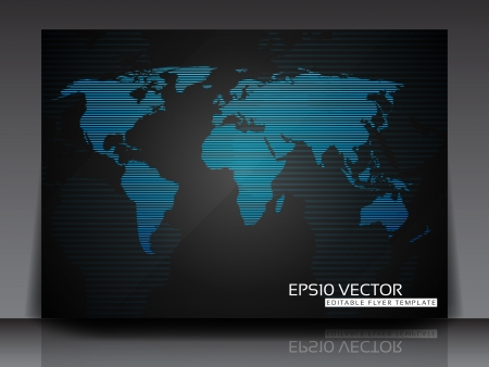 World Map Flyer Template  Vector