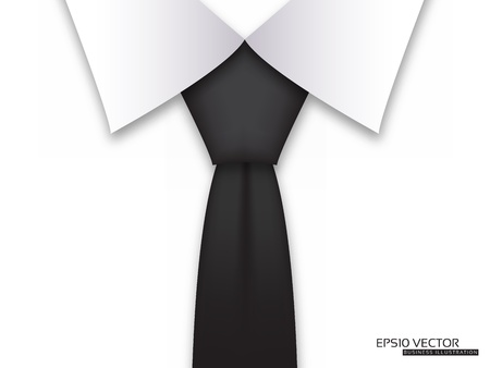 neck tie: Business Card Modern Design Layout with Black Tie  Illustration
