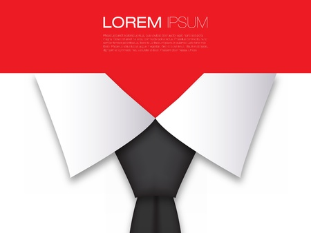 red tie: Business Card Modern Design Layout with Black Tie   Illustration