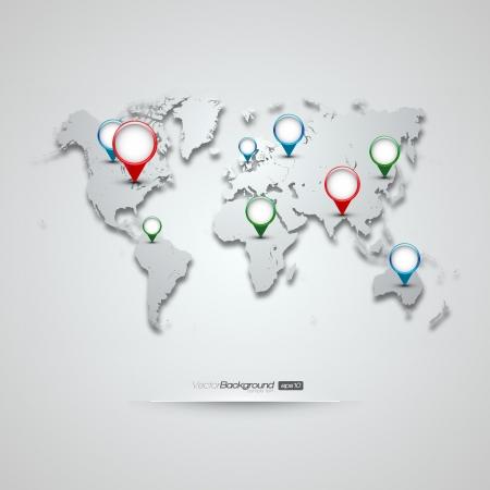 유럽: GPS 아이콘을 가진 세계지도 일러스트