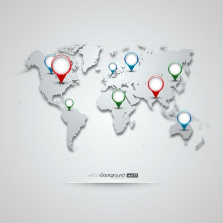 World Map with GPS Icons   Vector
