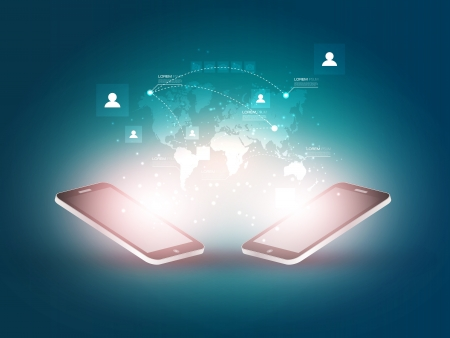 mobile sms: Futuristic Mobile Phones Illustration with Holographic World Map and Social Media Icons Design