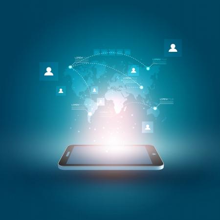 interaccion social: Ilustraci�n futurista del tel�fono m�vil con Holographic Mapa del Mundo y Dise�o Social Media Icons Vectores