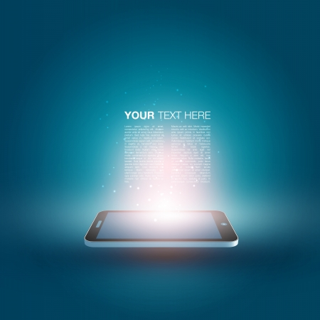 smartphone apps: Futuristic Mobile Phone Illustration with Text Design
