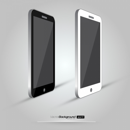 cell phone: 3D Realistic Smart Phone Template  White and Black Variation Design Illustration Illustration