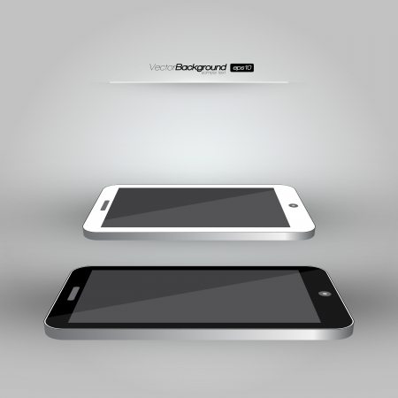 3D Realistic Smart Phone Template  White and Black Variation  Design Illustration Vector