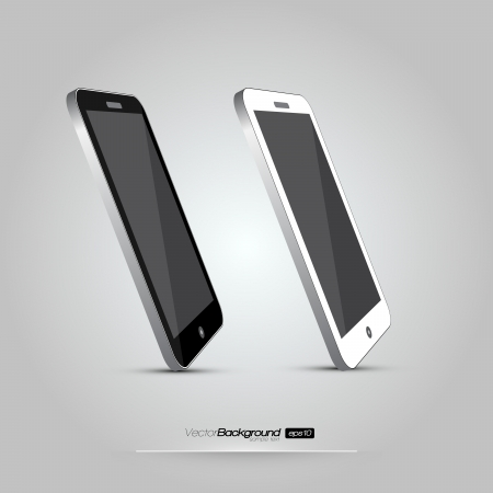 3D Realistic Smart Phone Template  White and Black Variation  Design Illustration Stock Vector - 18277629