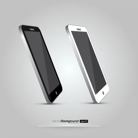 pda: 3D Realistic Smart Phone Template  White and Black Variation  Design Illustration Illustration