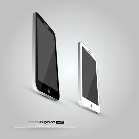 3D Realistic Smart Phone Template  White and Black Variation Design Illustration Stock Vector - 18278131