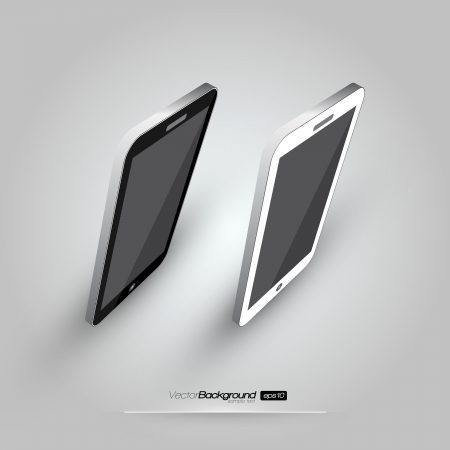3D Realistic Smart Phone Template  White and Black Variation  Design Illustration Stock Vector - 18278269