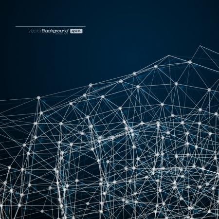 Fondo abstracto con malla círculos, líneas y formas de diseño futurista