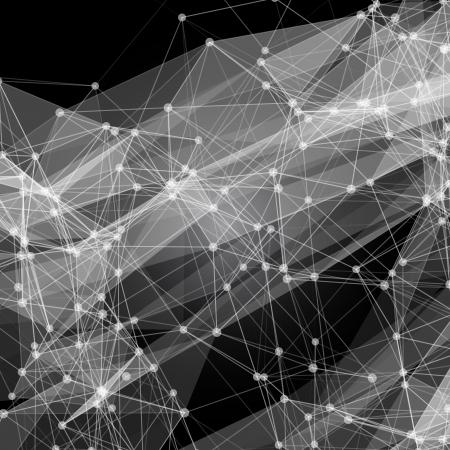 디지털: 원, 선, 미래 지향적 인 디자인을 모양과 추상 메쉬 배경 일러스트