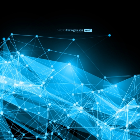 blue network: Abstract mesh background with circles, lines and shapes    Futuristic Design