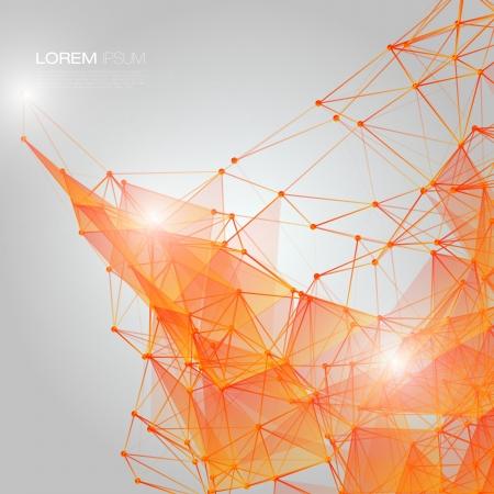 3D Orange Abstract Mesh-Hintergrund mit Kreisen, Linien und Formen EPS10 Design Layout für Ihr Business