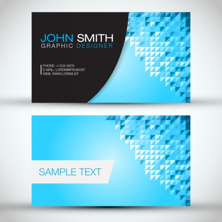Blue Mosaic Modern Business Card Set   EPS10 Vector Design Stock Vector - 19000812