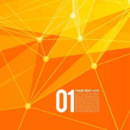 3D Orange Abstract Mesh Background with Circles, Lines and Shapes   EPS10 Design Layout for Your Business Ilustrace