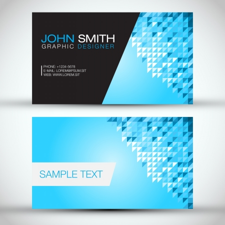 Blue Mosaic Modern Business Card Set Stock Vector - 18946487