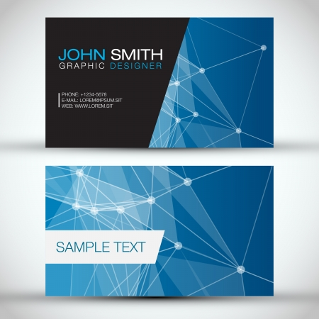 blank business card: Blue Modern Business Card Set   EPS10 Vector Design Illustration