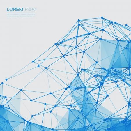 3D Blue Abstract Mesh-Hintergrund mit Kreisen, Linien und Formen EPS10 Design Layout für Ihr Business