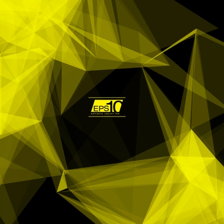 mesh: 3D Black and Yellow Abstract Mesh Background with Circles, Lines and Shapes