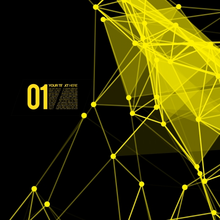 3D Black and Yellow Abstract Mesh Background with Circles, Lines and Shapes   Vector