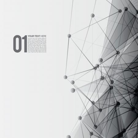 3D Black and White Abstract Mesh-Hintergrund mit Kreisen, Linien und Formen