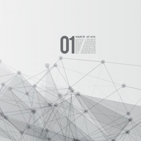 3D Black and White Abstract Mesh-Hintergrund mit Kreisen, Linien und Formen Vektorgrafik