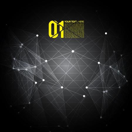 футуристический: 3D Черно-желтый абстрактный фон сетки с кругами, линий и фигур