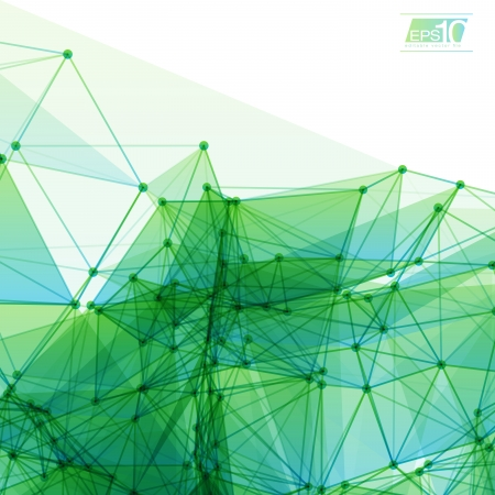 3D Green and Blue Abstract Mesh Background with Circles, Lines and Shapes Design Layout for Your Business Vector