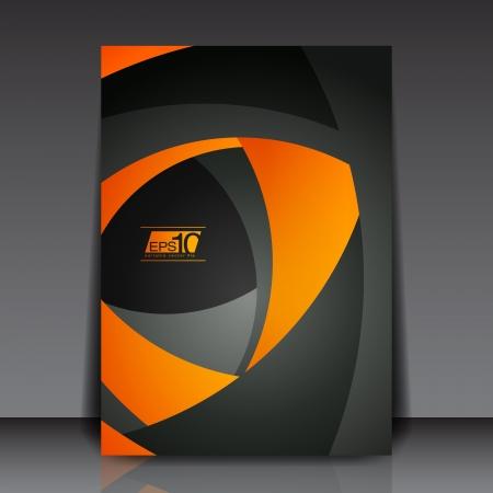 オレンジと黒の図形 - ビジネス チラシ テンプレート ベクトル デザイン