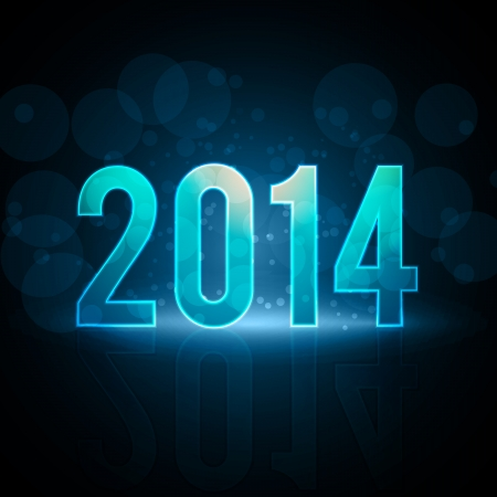 Happy New Year 2014 Message Neon Background   EPS10 Vector Illustration