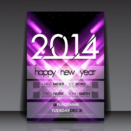 2014 New Year Vector Flyer Template Illustration