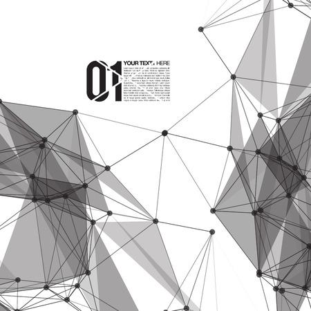 3D Zwart-witte Abstracte mesh achtergrond met cirkels, lijnen en vormen EPS10 Ontwerp opmaak voor uw bedrijf