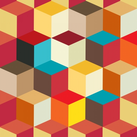 Colorful Cubes Seamless Pattern Background   Vector