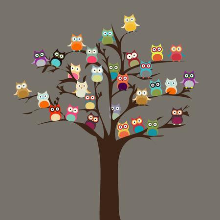 pajaro caricatura: Búho lindo en el fondo del árbol Vector
