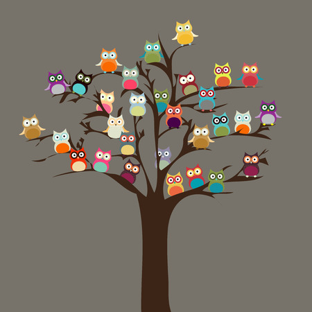 cartoon: Cute Owl on Tree   Vector Background Illustration
