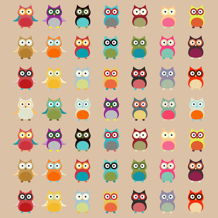fekete-fehér: Aranyos színes Owl Pattern vector background Illusztráció