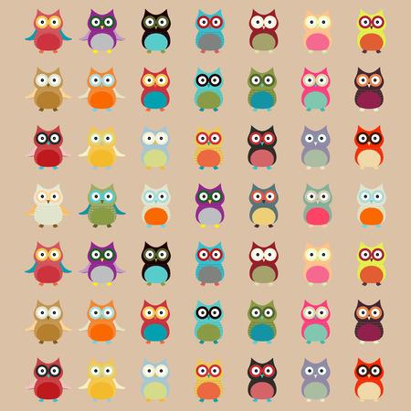 white abstract: Carino Owl colorato pattern sfondo vettoriale