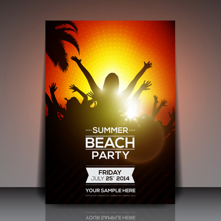 Summer Beach Party Flyer  Vector