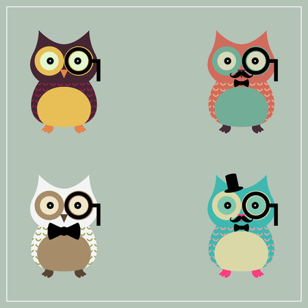 Set of Cute Hipster Owl    Vector