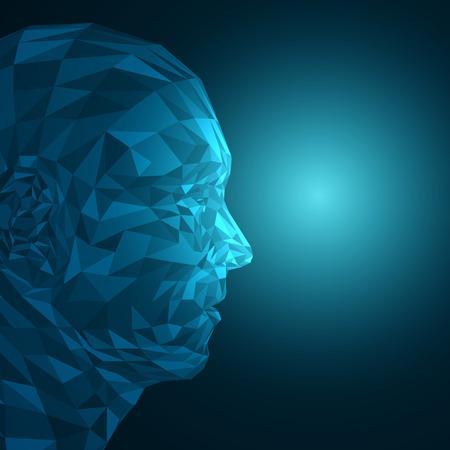 未来のコンセプト抽象的な 3 D 顔図形 EPS10 ベクトル設計によって